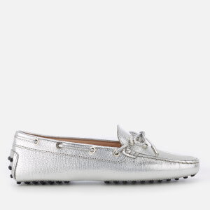 Tod's Women's Leather Driving Shoes - Silver