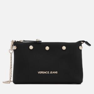 Versace Jeans Women's Studded Logo Chain Handle Cross Body Bag - Black
