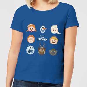 T-Shirt Disney Frozen Emoji Heads - Royal Blue - Donna