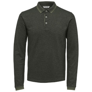 Only & Sons Men's Stan Long Sleeve Polo Shirt - Deep Lichen Green