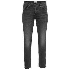 Only & Sons Men's Loom 0447 Slim Fit Jeans - Washed Black Denim