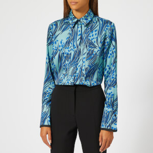 Victoria, Victoria Beckham Women's Printed Poly Twill Front Triple Seam Shirt - Midnight/Lapis