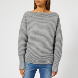 Victoria, Victoria Beckham Women's Ottoman Merino Wool One Shoulder Sweatshirt - Light Grey Mouline