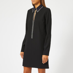 Victoria, Victoria Beckham Women's Embellished Fluid Crepe Open Front Shift Dress - Black