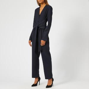 Victoria, Victoria Beckham Women's Fluid Wool Blend Front Tie Jumpsuit - Midnight