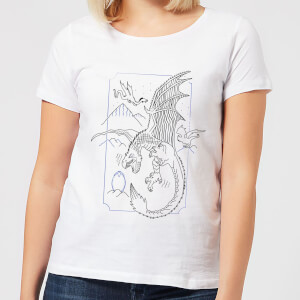 Harry Potter Dragon Line Art Dames T-shirt - Wit