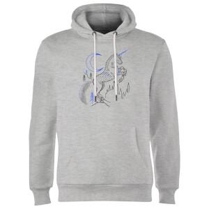 Harry Potter Unicorn Line Art Hoodie - Grey