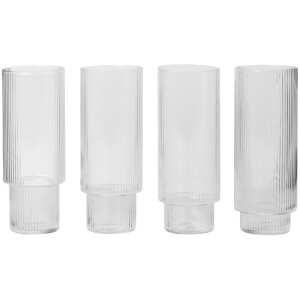 Ferm Living Ripple Long Drink Glasses (Set of 4)