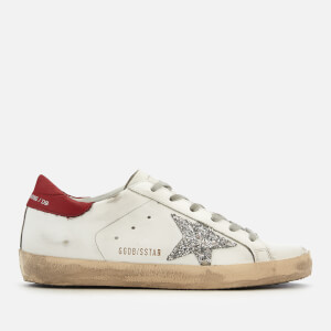 Golden Goose Deluxe Brand Women's Superstar Trainers - White/Red/Silver Glitter
