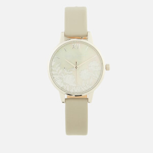 Olivia Burton Women's Lace Detail Watch - Grey Mother of Pearl, Light Grey/Silver