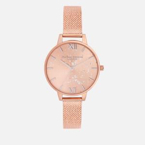 Olivia Burton Women's Celestial Glitter Mesh Watch - Rose Gold Mesh