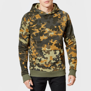 The North Face Men's Raglan Red Box Hoodie - New Taupe Green Macrofleck Print