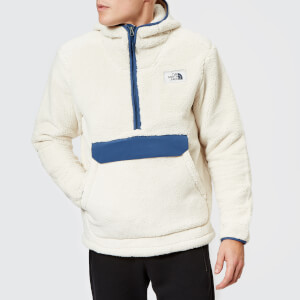 The North Face Men's Campshire Pullover Pile Hooded Fleece - Vintage White/Shady Blue