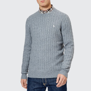 Jack Wills Men's Marlow Cable Knit Jumper - Grey Marl