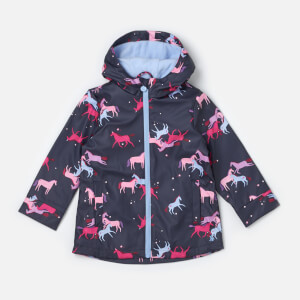 Joules Girls' Raindance Waterproof Coat - Navy Magic Unicorn