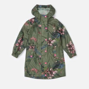 Joules Girls' Golightly Packaway Waterproof Coat - Grape Leaf Harvest Floral