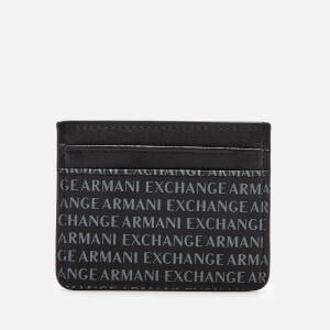 Armani Exchange Men's All Over Logo Card Holder - Black