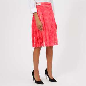 Christopher Kane Women's Neon Lace Kilt Skirt - Neon Pink