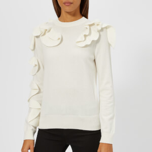 Ted Baker Women's Pallege Frill Sleeve and Shoulder Jumper - Ivory