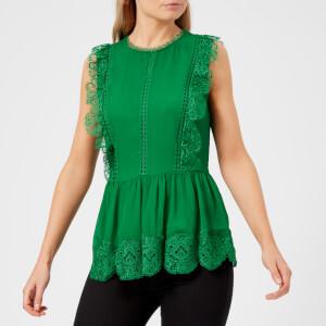 Ted Baker Women's Omarri Mixed Lace Peplum Sleeveless Top - Bright Green