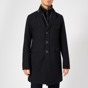 Herno Men's Classic Single Breasted Over Coat - Navy