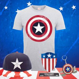 Pack Capitán América Marvel: Camiseta + Gorra + Escudo + Llavero Multiusos