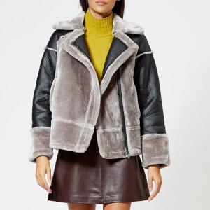 Whistles Women's Faux Fur Biker Jacket - Black/Grey
