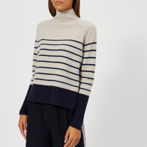 Whistles Women's Stripe Funnel Neck Wool Knitted Jumper - Multi