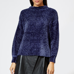 Whistles Women's Chenille Full Sleeve Rib Sweater - Navy