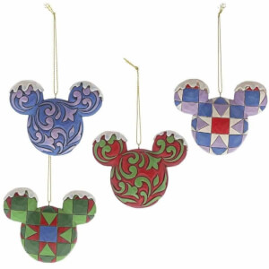 Disney Traditions Mickey Mouse Head Hanging Ornament Set