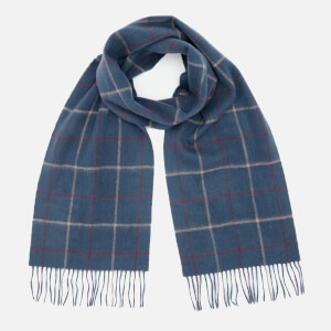 Barbour Men's Tattersall Lambswool Scarf - Navy/Plum