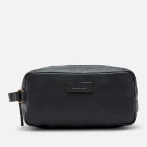 Barbour Men's Compact Leather Wash Bag - Black