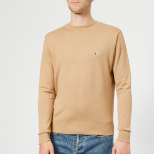 Maison Kitsuné Men's Virgin Wool Crew Neck Knitted Jumper - Beige