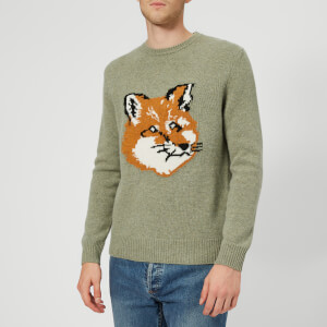 Maison Kitsuné Men's Fox Head Wool Knitted Jumper - Khaki
