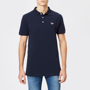 Maison Kitsuné Men's Tricolor Fox Patch Polo Shirt - Navy