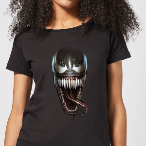 Venom Face Photographic Damen T-Shirt - Schwarz