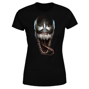 Venom Face Photographic Women's T-Shirt - Black