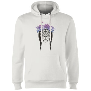 Balazs Solti Lion And Flowers Hoodie - White