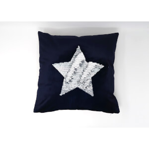 Catherine Lansfield Sequin Star Cushion - 43 x 43 - Navy
