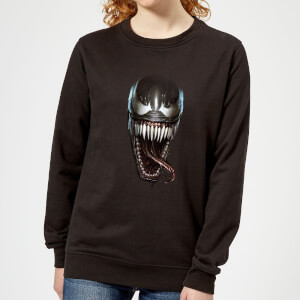 Venom Face Photographic Damen Pullover - Schwarz