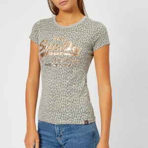 Superdry Women's Vintage Logo Aop Burn Out Entry T-Shirt - Grey Marl