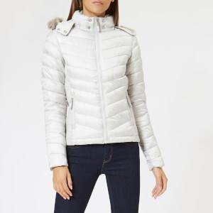 Superdry Women's Hooded Luxe Chevron Fuji Jacket - Pearl