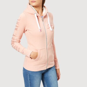 Superdry Women's Track & Field Borg Zip Hoodie - Track Peach