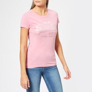 Superdry Women's Vintage Logo Sport Entry T-Shirt - Active Pink Marl