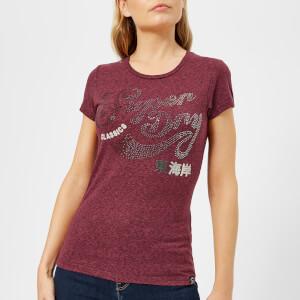 Superdry Women's Classic Rhinestone Entry T-Shirt - Maroon Rugged