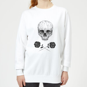 Skull And Roses Women's Sweatshirt - White