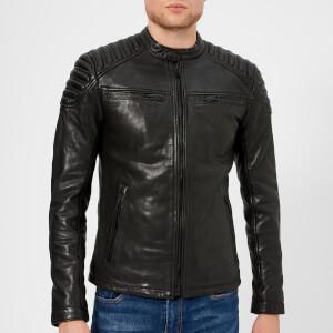 Superdry Men's New Hero Leather Jacket - Black