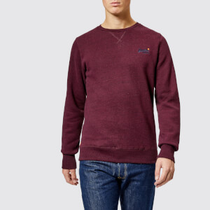Superdry Men's Orange Label Crew Neck Sweatshirt - Boston Burgundy Grit