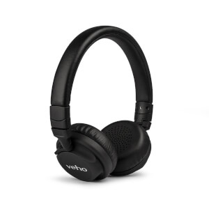 Veho Z4 On Ear Leather Finish Foldable Headphones with In-Line Control and Microphone - Black