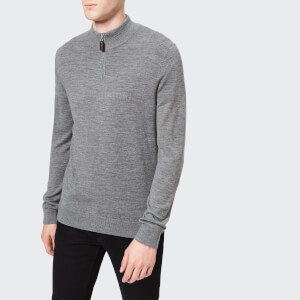Aquascutum Men's Hamilton Half Zip Merino Knitted Jumper - Grey Melange